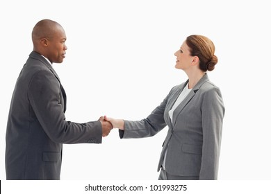 A businessman is shaking a businesswoman's hand