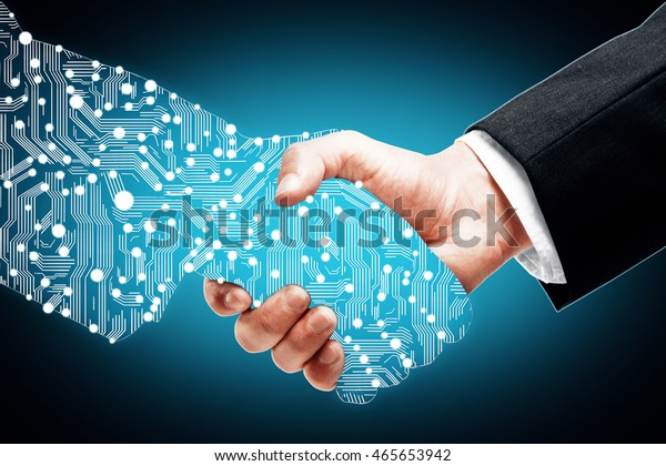 Businessman shaking digital partners hand on blue background