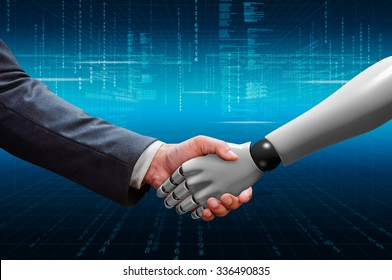 businessman shaking hand with 3d  robot hand