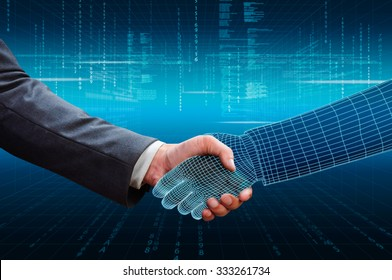 businessman shaking hand with 3d wireframe hand