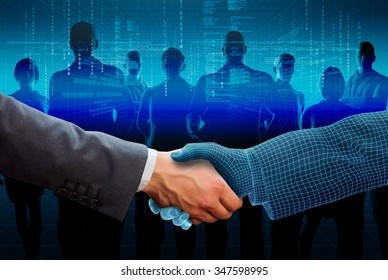 businessman shaking hand with 3d wireframe hand and silhouette business people on background