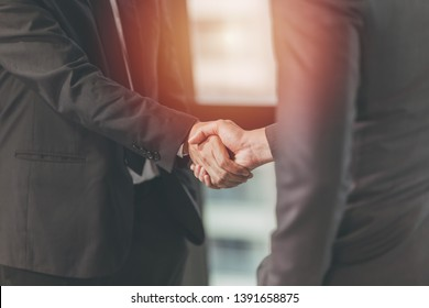 Businessman Shaking hand, Project Deal Together, Business Job Done Concept