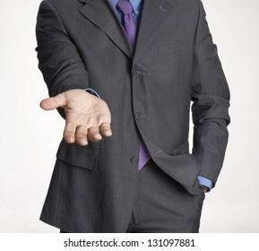 Businessman shaking hand.Request attitude businessman hand,