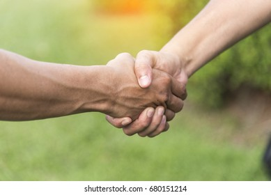 Businessman shaking hands before start up new project for small business partner. Business Concept