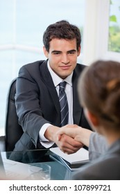 Businessman shaking hands with a Businesswoman  in an office