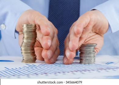 Businessman sharing profit, closeup shot