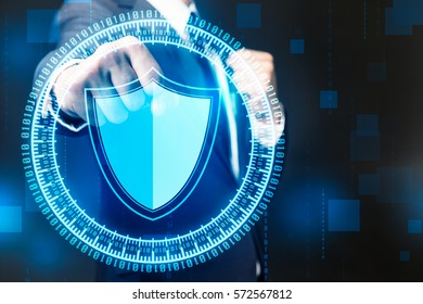 Businessman with Shield Cyber Security