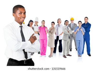 Businessman in shirt standing in front of different types of workers on white background