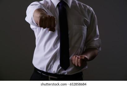 Businessman, shirt, tie, beating, karate