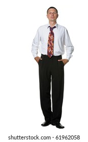 The businessman in a shirt and a tie. It is isolated on a white background