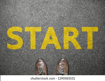 businessman shoes step to word start on road, business concept
