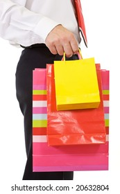 Businessman shopping with colorful bags, closeup - isolated