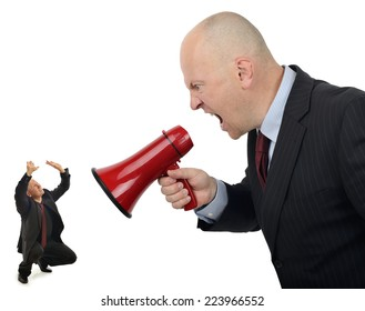 Businessman shouting orders at a worker isolated on a white background