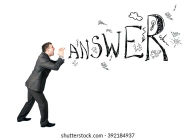 Businessman shouting word answer