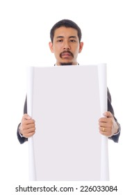 Businessman show blank paper, isolated on the white background.