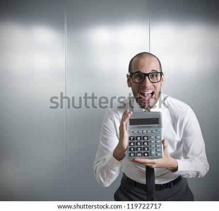 Businessman Show Calculator Positive Value Stock Photo (Edit