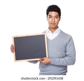 Businessman show with chalkboard