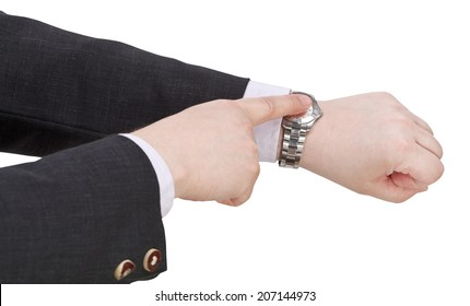 businessman show current time on watch - hand gesture isolated on white background