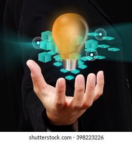 Businessman show innovation concept on virtual screen.
