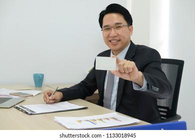 Businessman show the smartcard