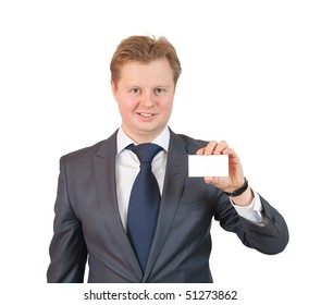 Businessman showing a blank business card over white