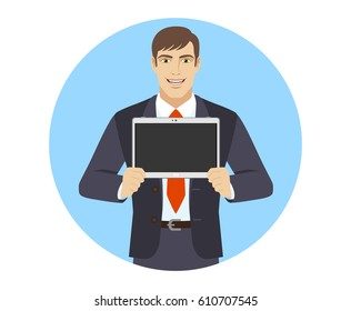 Businessman showing blank digital tablet PC. Portrait of businessman in a flat style. Raster version.