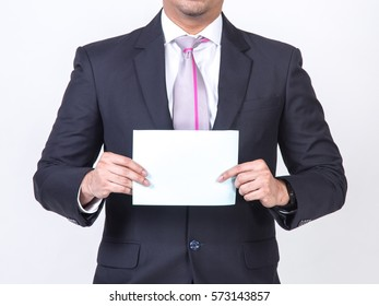 businessman showing a blank white sheet. concept for business