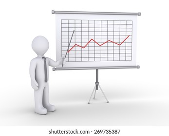 Businessman is showing a board with a graphic chart on it
