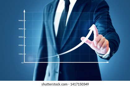 Businessman showing business growth on a chart, hands touch the graph that represents profit rises on a lot more.