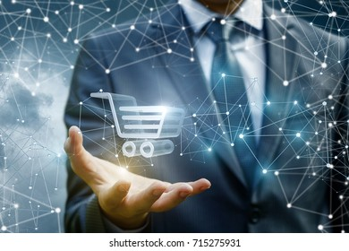 Businessman showing cart for in the hand. The concept of electron Commerce.