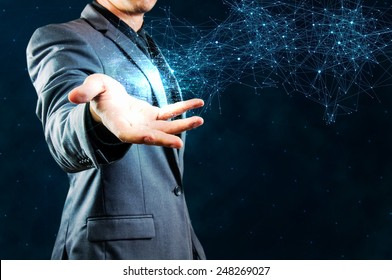 businessman showing glow network structure