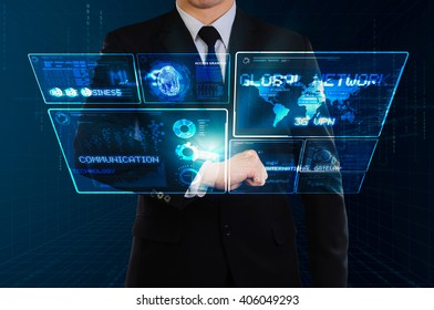 businessman showing glow technology screen floating from hi-tech watch