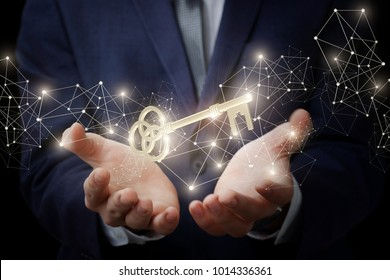 Businessman showing the hands is the key to success.