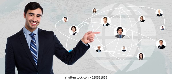 Businessman showing his connected friends in worldwide