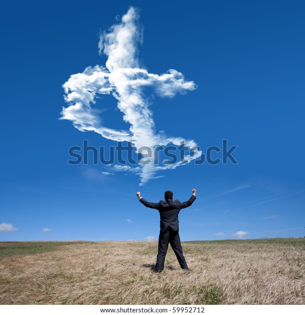 businessman showing his success at the field looking to a cloud with a dollar shape