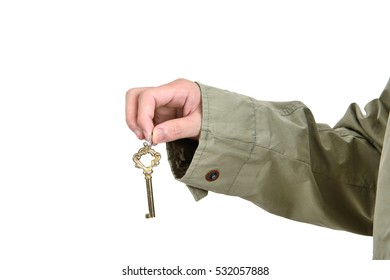 Businessman showing the key to success, Business concept