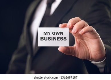 Businessman Is Showing My Own Business Vcard, Business Concept