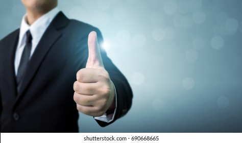 Businessman showing OK or hand sign thumb up, The excellence of the business or service concept, Copy space