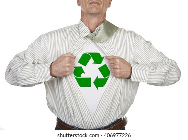 Businessman showing recyclable concept suit underneath his shirt standing against white background