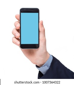 Businessman showing screen of black smartphone in his hand. Clipping path for display