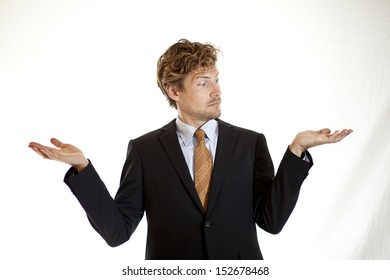 Businessman showing to sides of a story or choice between good and evil