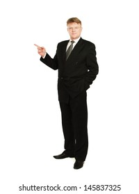 A businessman showing something , isolated on white background