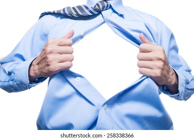 businessman showing space in his shirt