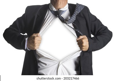 Businessman showing a superhero suit underneath his suit, isolated on white background