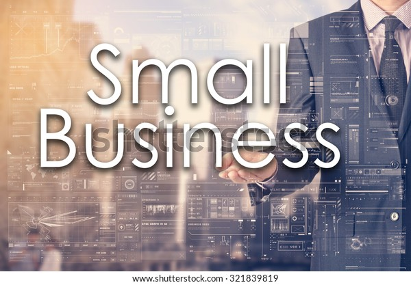 Businessman showing text by his hand: Small Business