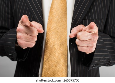 businessman showing two index fingers