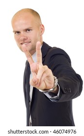 Businessman showing Victory sign into the camera, symbol for success
