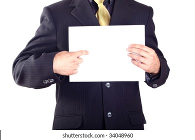 businessman showing a white card