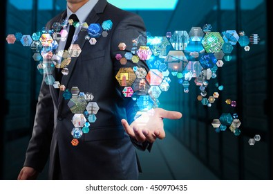 businessman showing world map made by hexagon shape image
