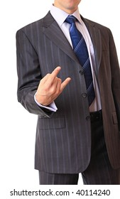 A businessman shows the gesture of threat.